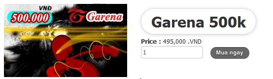 thẻ garena 500k online