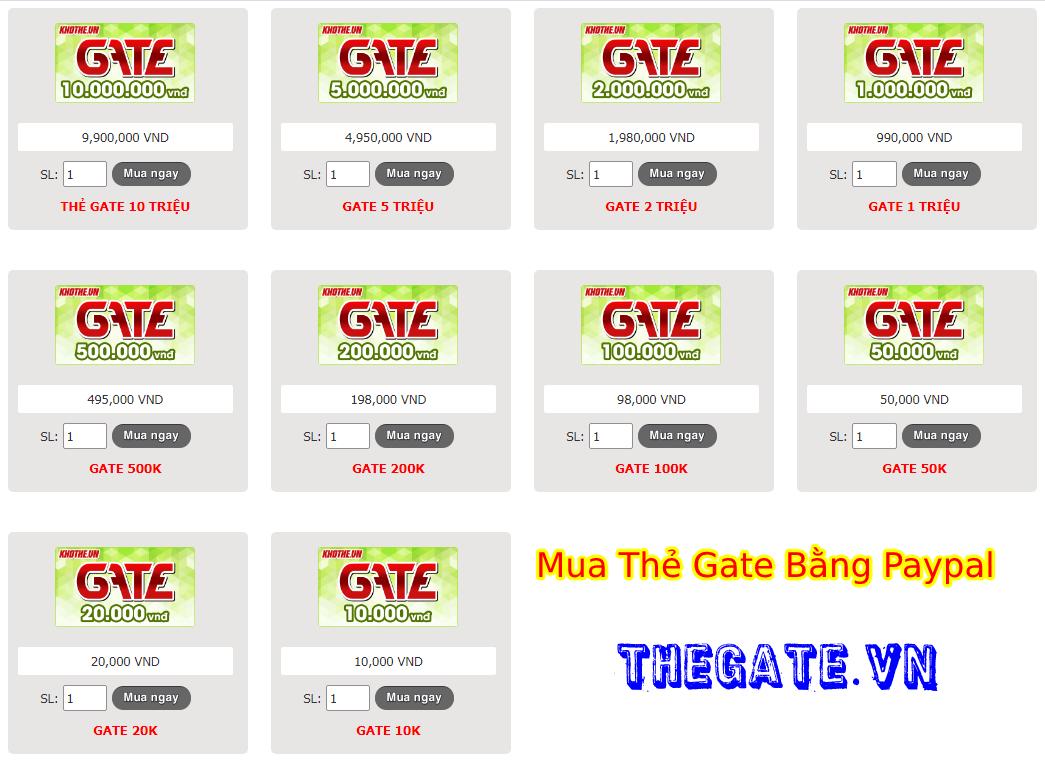 Từ A-Z Cách Mua Thẻ Gate Online Bằng Paypal