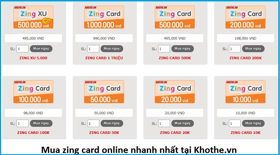 Mua zing card online nhanh nhất tại khothe.vn
