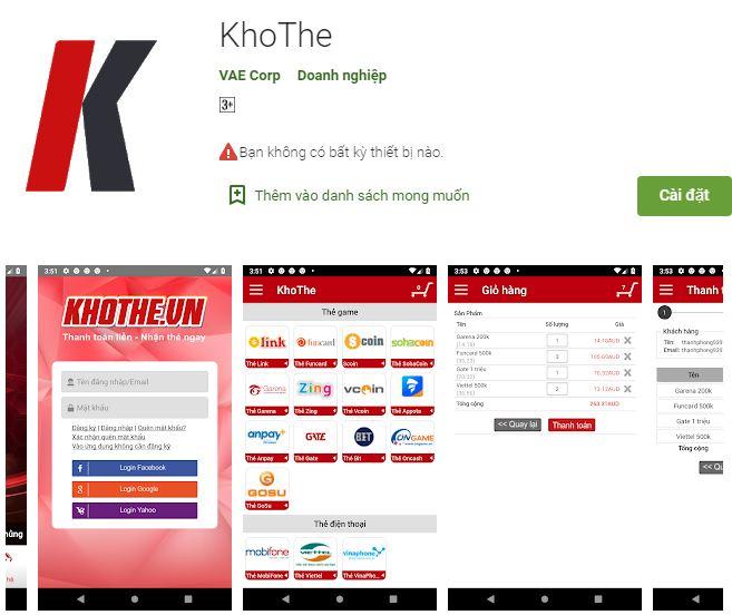 Tải app Khothe – nhận ngay quà nóng tay