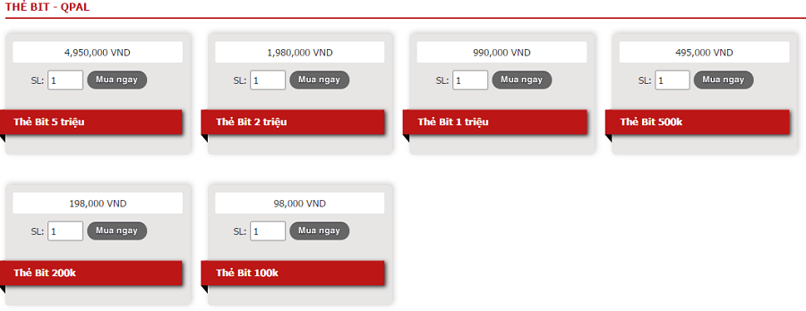 các mệnh giá thẻ Bit tại khothe.vn