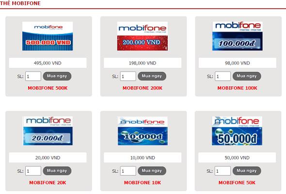 thẻ mobifone trực tuyến
