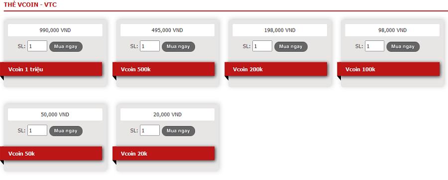 các mệnh giá thẻ vcoin tại khothe.vn