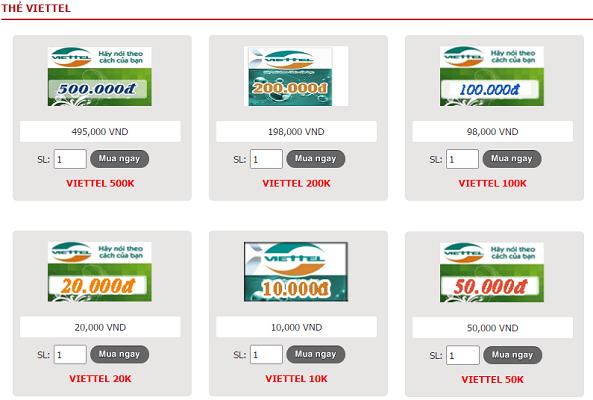 thẻ viettel online