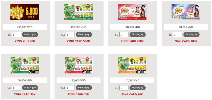Bán zing card - zing xu online