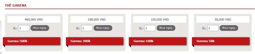 Các mệnh giá thẻ garena đang được bán tại Khothe.vn